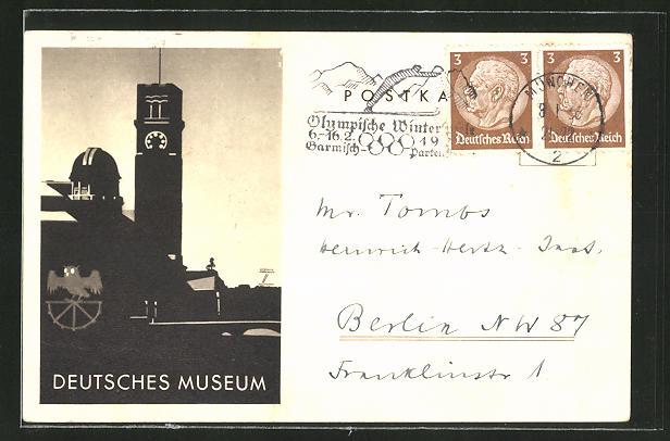 Künstler-AK Ludwig Hohlwein: München, Deutsches Museum, Teilansicht, Wappen