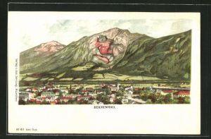 Lithographie Bad Reichenhall, Ortsansicht mit Bergen, Berg mit Gesicht / Berggesichter