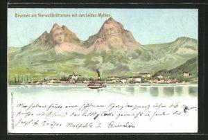 Lithographie Brunnen am Vierwaldstättersee, Ortsansicht mit den beiden Mythen, Berg mit Gesicht / Berggesichter