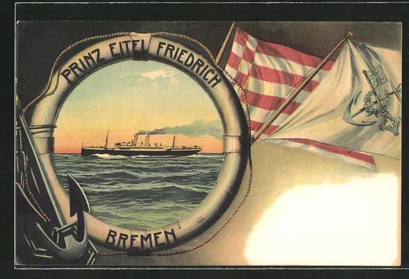AK Prinz Eitel Friedrich, Bremen, Passagierschiff in Rettungsring-Rahmen