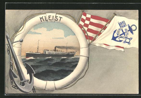 AK Nordd. Lloyd Bremen, Passagierschiff Kleist in Rettungsring-Zierrahmen