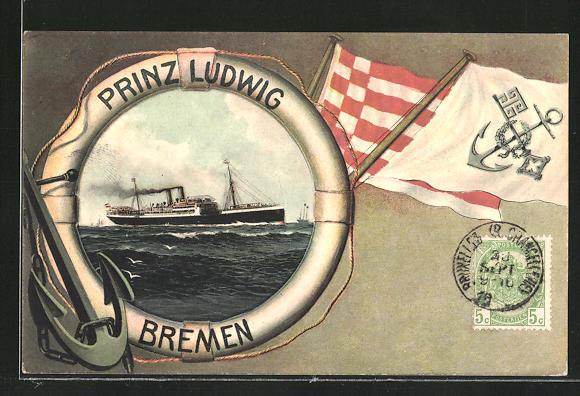 AK Passagierschiff Prinz Ludwig, Bremen, Rettungsring-Zierrahmen