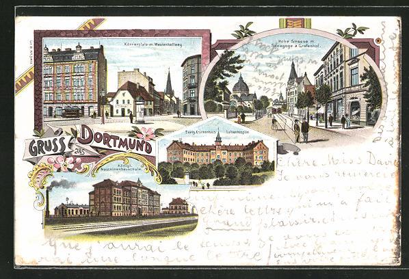 Lithographie Dortmund, Hohe Strasse mit Synagoge & Grafenhof, Körnerplatz, Ev. Krankenhauzs, Königl. Maschinenbauschule
