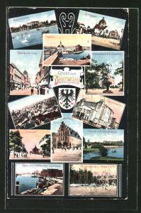 AK Dortmund, Buschmühle, Synagoge, Hafen, Westenhellweg, Fredenbaum, Gartenseite, Südwall, Rathaus