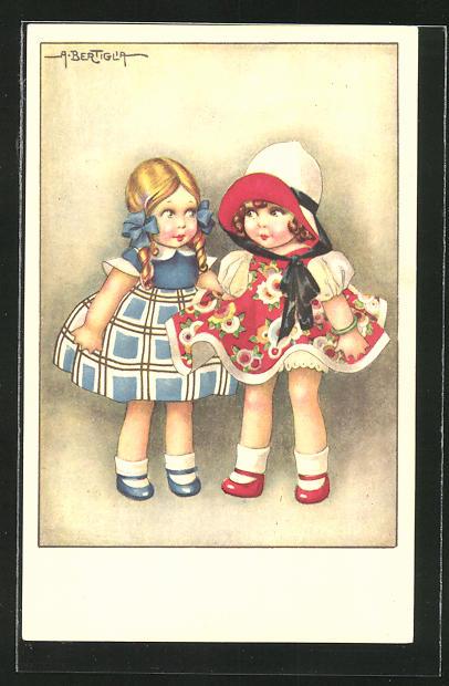 Künstler-AK A. Bertiglia: Freundinnen beim Spielen