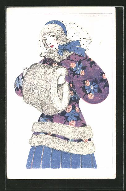 Künstler-AK Mela Köhler: Elegante Dame in Winterkleidung mit Muff