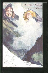 Künstler-AK Fritz Hass, Killinger Nr. 154: Trettachspitze und Mädelegabel, Berg mit Gesicht / Berggesichter