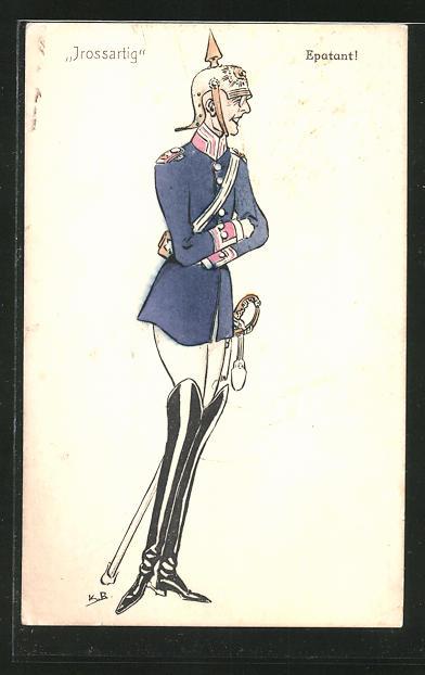 AK Karikatur eines Uniformierten mit Pickelhaube