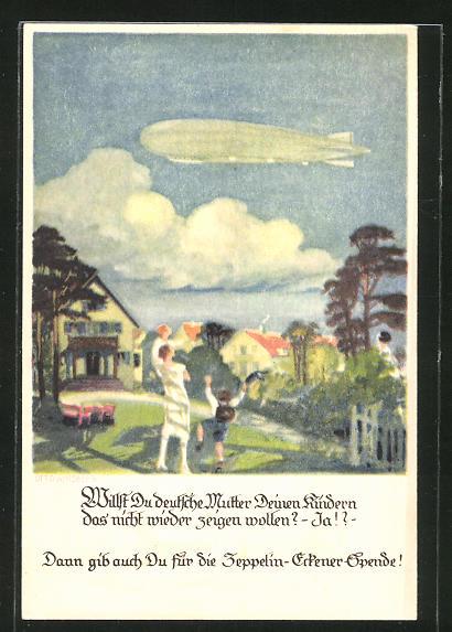 Künstler-AK Otto Amtsberg: Mutter und Sohn winken einem Zeppelin zu