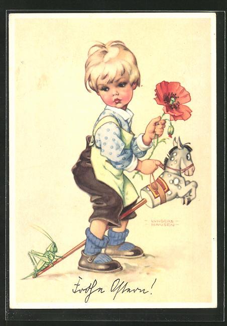 Künstler-AK Ilse Wende-Lungershausen: Knabe mit grosser Mohnblume auf einem Steckenpferd