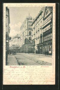 AK Frankfurt, Blick zur Synagoge in der Börnestrasse