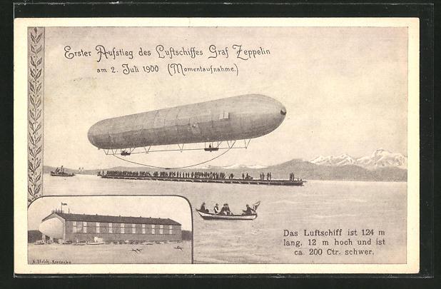 AK Erster Aufstieg des Luftschiffes