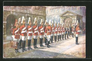 Künstler-AK Harry Payne: 1st Life Guards, Four o'clock Parade at Horse Guards, britische Leibgarde