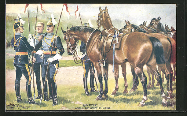 Künstler-AK Harry Payne: 21st Lancers, waiting the Order to mount, britische Ulanen