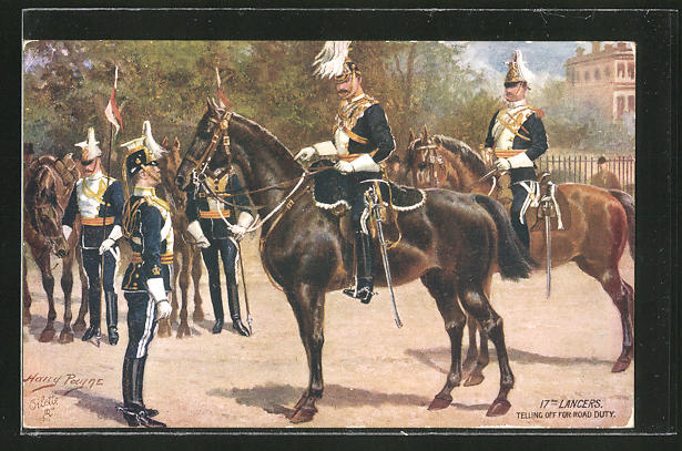 Künstler-AK Harry Payne: 17th Lancers, Telling off fort Road Duty, britische Ulanen