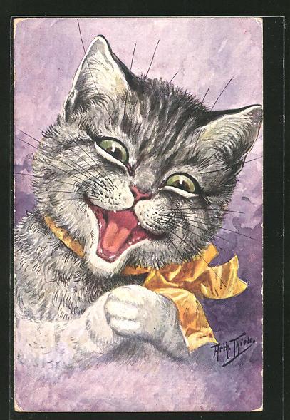 Künstler-AK Arthur Thiele: Lachende Katze mit gelber Schleife um den Hals, vermenschlichte Tiere