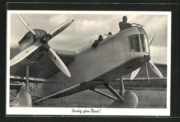AK Flugzeug Dornier bereit zum Start