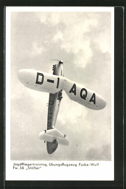 AK Jagdfliegertraining mit Übungsflugzeug Focke-Wulf Fw 56