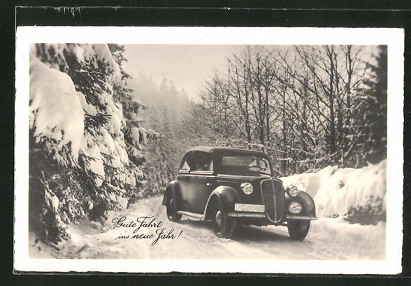 AK Gute Fahrt ins neue Jahr!, Auto auf verschneiter Strasse