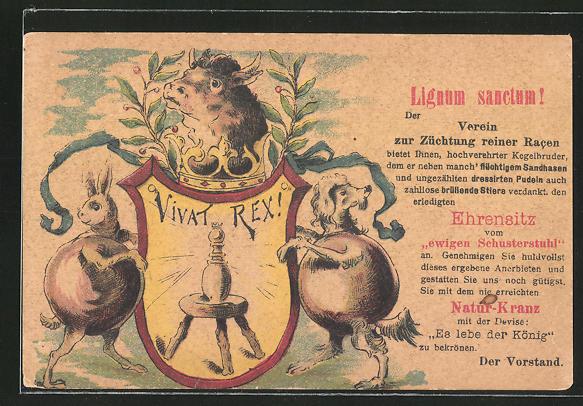 Künstler-AK Scherzhafte Karte eines Kegelvereins, flüchtiger Sandhase und dressierter Pudel