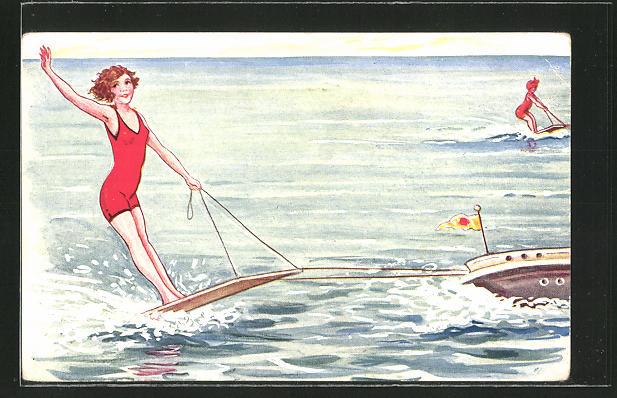 AK Mädchen in Bademode fährt Wasserski