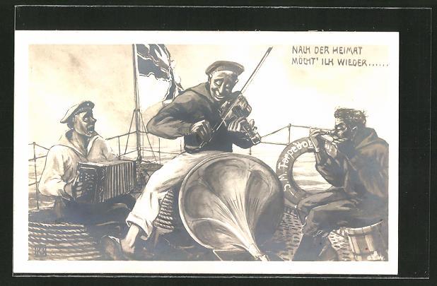 AK Matrosen auf einem Kriegsschiff spielen in ein Grammophon,