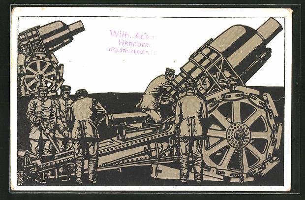 AK Artillerie bereitet die Schusswaffen vor, Reklame H. Bahlsens Keks-Fabrik Hannover