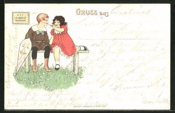 AK Kekse von H.C.F. Leibniz, Kinderpaar auf einer Bank