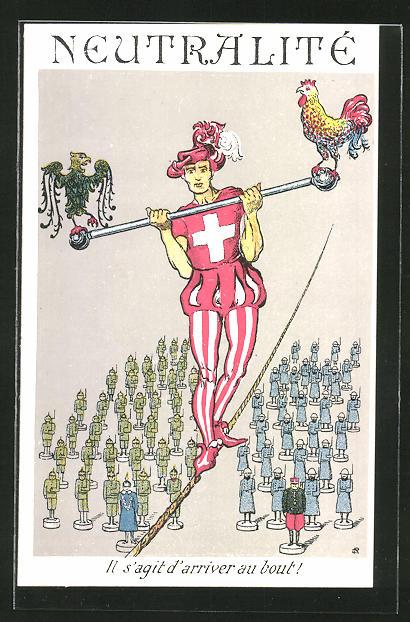 AK Mann balanciert auf einem Seil mit schweizer Holzspielzeug-Zuschauern