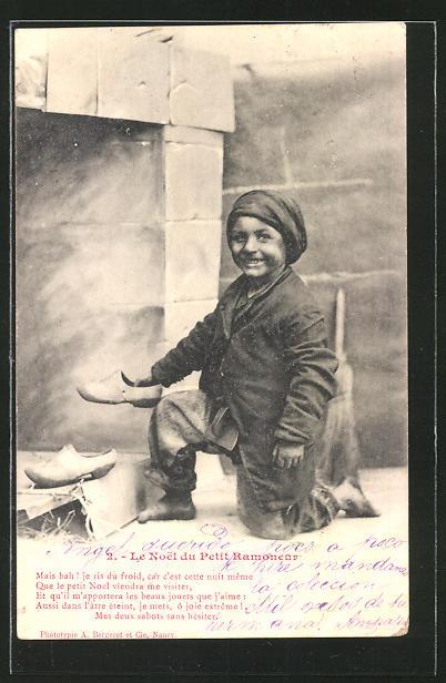 AK Le Noel du Petit Ramoneur, junger Schuhputzer bei der Arbeit