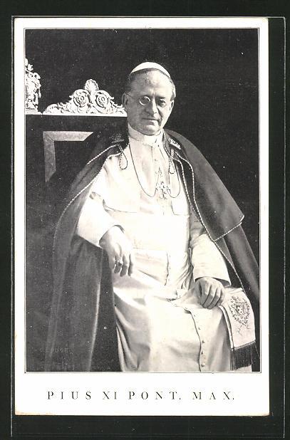 AK Papst Pius XI. sitzt auf seinem Thron
