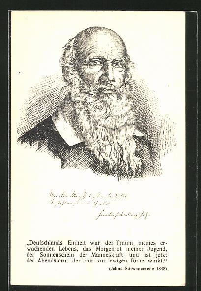 AK Portrait von Turnvater Jahn mit Jahns Schwanenrede 1848