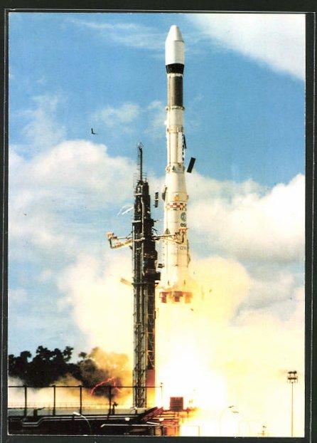 AK Rakete Ariane hebt von der Startrampe ab