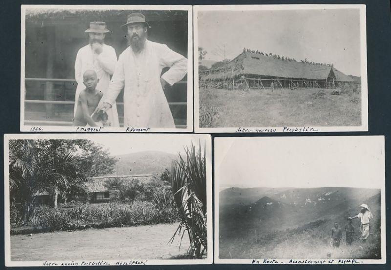 4 Fotografien Afrika Mission, Eingeborene beim Hüttenbau & Missionare