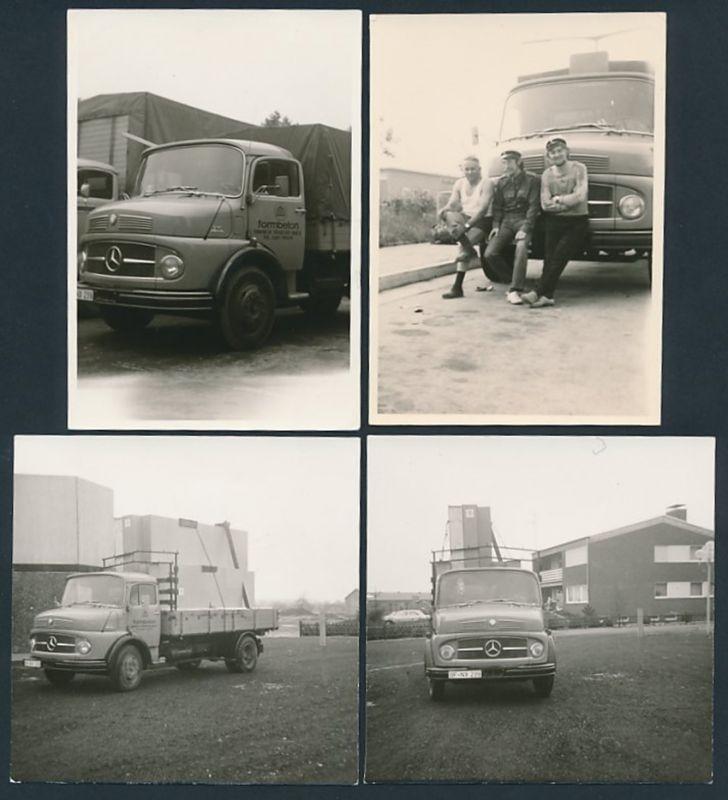4 Fotografien Lastwagen Mercedes Benz 710, LKW-Pritsche der Firma Formbeton in Frankfurt / Main