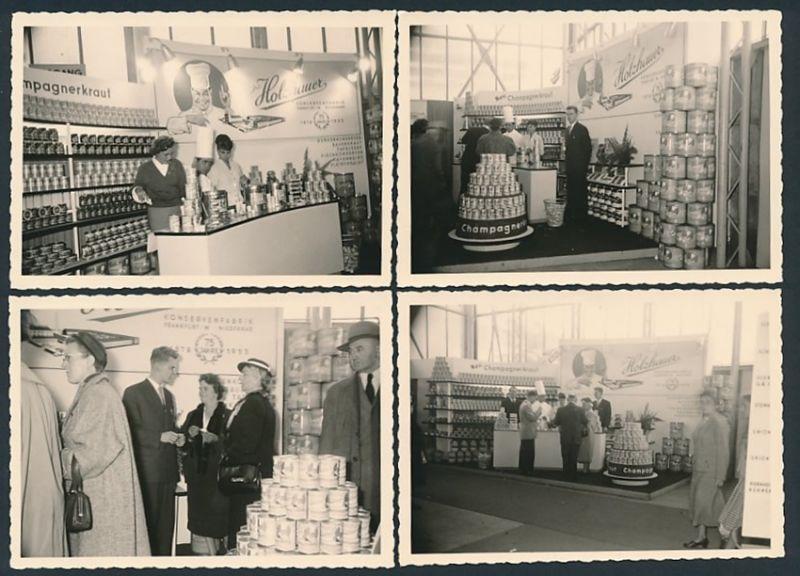 4 Fotografien Fotograf unbekannt, Ansicht Frankfurt / Main, Ausstellung IKA 1956, Messestand Holzhauer Konservenfabrik
