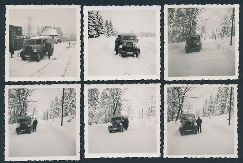 6 Fotografien Auto Kastenwagen im Schnee, Kfz-Kennzeichen IVB-19537