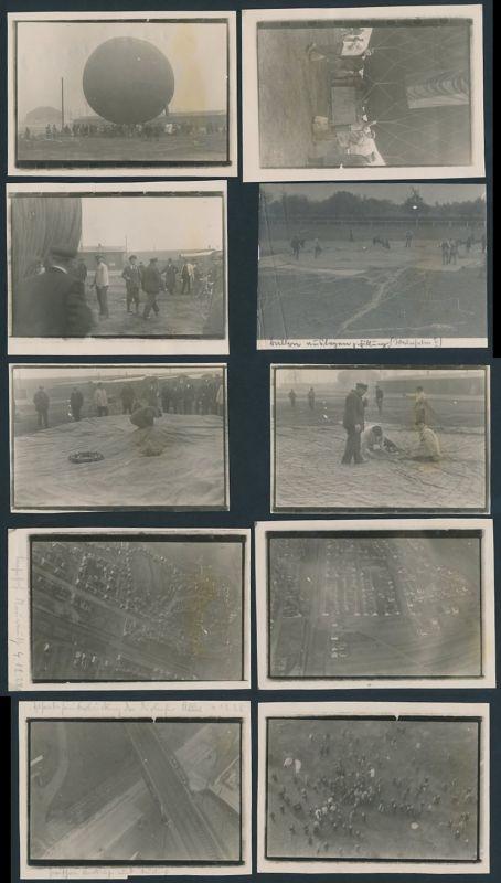 10 Fotografien Fotograf unbekannt, Ansicht Karlsruhe-Neureut, Ballonfahrt am 4.12.1928, Ballon Graf Zeppelin
