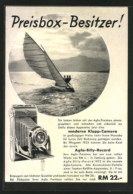 AK Reklame für Fotoapparat Agfa-Billy Record, Segelboot kreuzt gegen den Wind