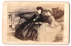 Fotografie Gemälde von unbek. Künstler, zwei junge Damen beobachten zwei Herren