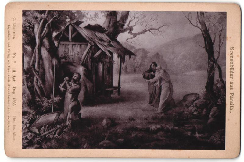 Fotografie Jos. Albert, Bayreuth, Gemälde von C. Ritter, Parsifal, III. Act, Erkennst du ihn?...
