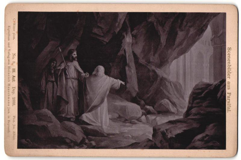 Fotografie Jos. Albert, Bayreuth, Gemälde von C. Ritter, Parsifal, III. Act, Die Stund' ist da...