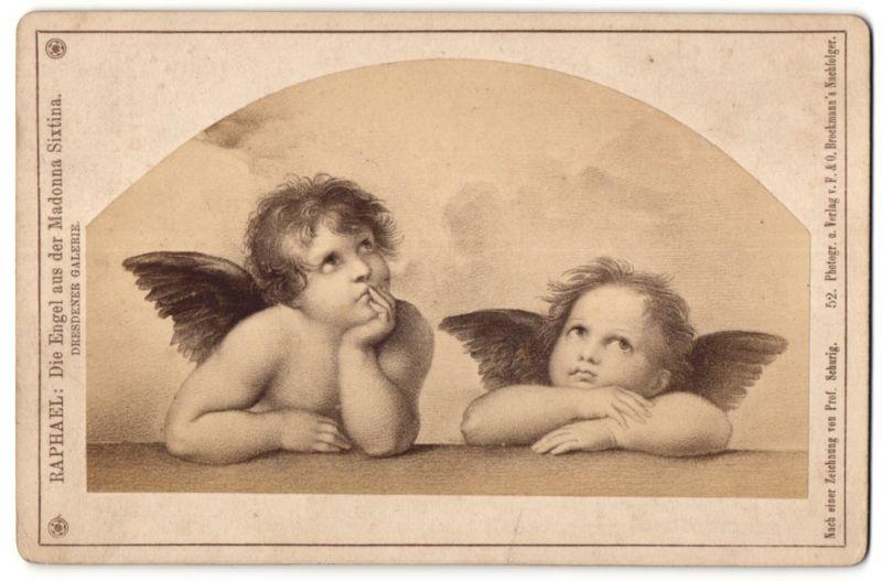 Fotografie F. & O. Brockmann's Nachf., unbekannter Ort, Gemälde von Raphael, Die Engel aus der Madonna Sixtina