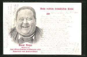 AK Komiker Oskar Freyer, Mitglied von Emil Winter-Thymians berühmtesten aller Humoristen und Quartett-Sänger