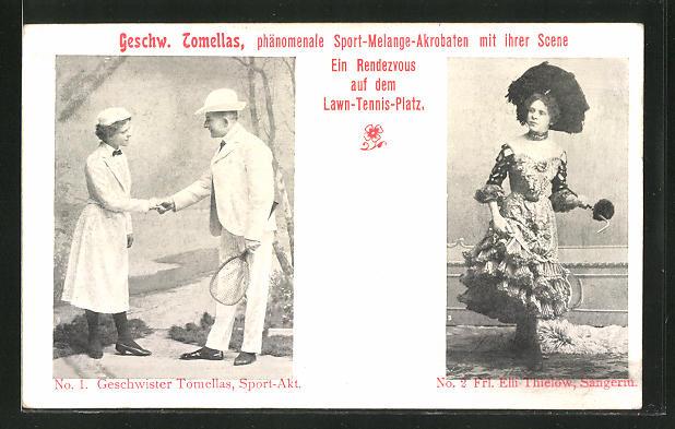 AK Geschwister Tomellas beim Sport-Akt, Akrobaten, Frl. Elli Thielow, Sängerin
