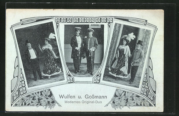 AK Wulfen und Grossmann, Modernes Original-Duo, Varietée-Künstler