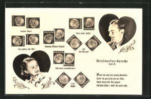 AK Briefmarkensprache, Verliebtes Paar im Herz-Rahmen, Briefmarken in versch. Anordnungen