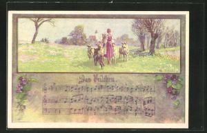 Künstler-AK Franz Jung-Ilsenheim: Bäuerin mit Ziegen auf der Wiese, Lied