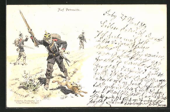 Künstler-AK Carl Becker: Soldaten auf Patrouille