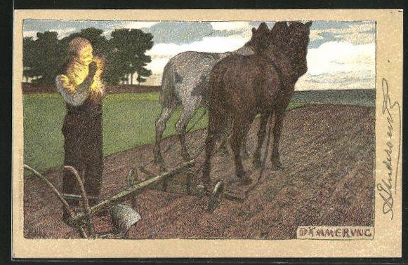 Künstler-Lithographie Paul Hey: Dämmerung, Bauer zündet sich eine Zigarette auf dem Feld an